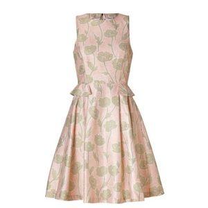 SUNO Floral Cotton Silk Peplum Dress, Pink & Green